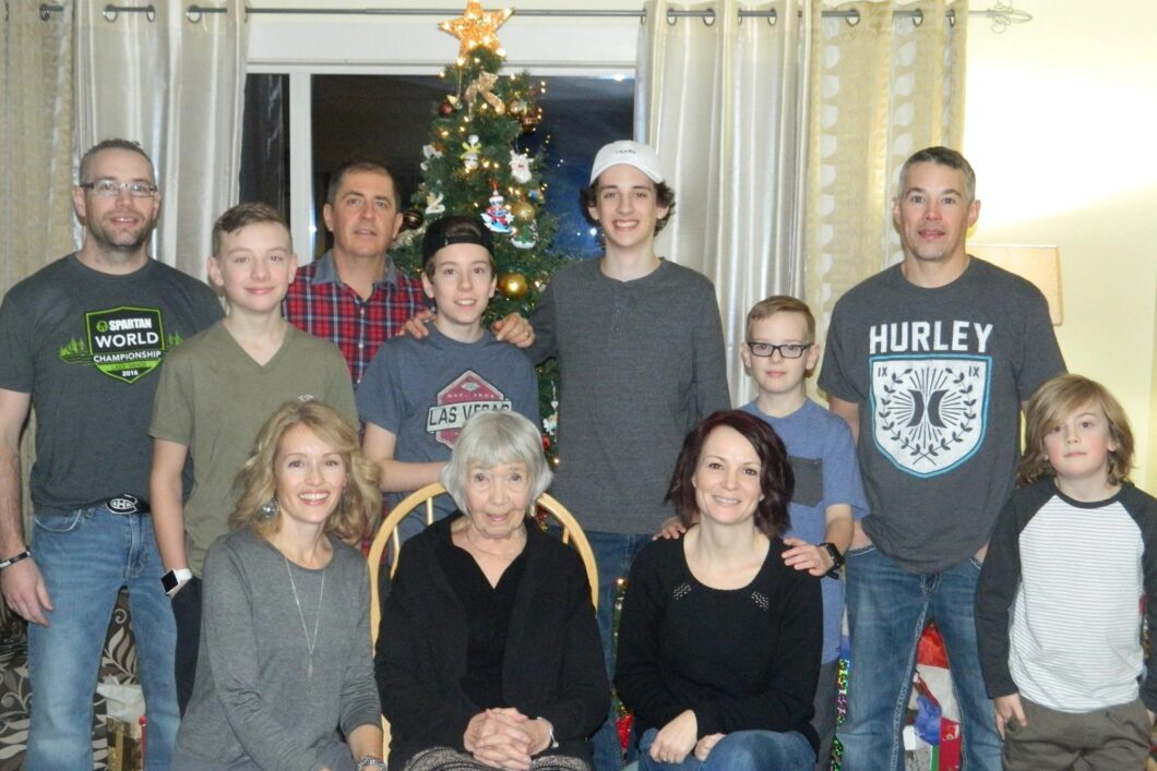 Christmas 2016: front row l-r Michelle Cyr-Whiting, Virginia Cyr, Natalie Cyr. back row l-r Stephen Cyr, Parker Cyr, Corbet Whiting, Hudson Whiting, Hunter Whiting, Cohen Cyr, Jason Cyr, Mason Whiting